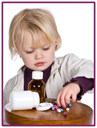 child taking pills